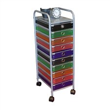 10 Drawer Multi-Colored Rolling Storage Tower
