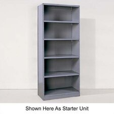 Industrial Clip Closed Shelving: Beaded Post Units with 6 Shelves; Adder Unit
