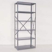 Industrial Clip Open Shelving: Beaded Post Units with 6 Shelf Frames; Adder Unit