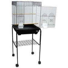 Flat Top Small Bird Cage with Black Stand in Black