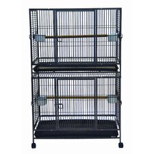 Play Top Wrought Iron Double Bird Cage in Antique Silver
