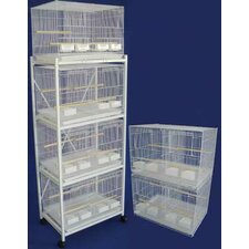 Six Small Bird Breeding Cages with Divider and One 4 Tier Stand