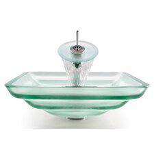 Square Frosted Oceania Glass Sink and Waterfall Faucet