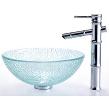 "Broken Glass 14"" Vessel Sink and Bamboo Faucet"