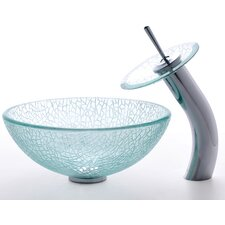 "Broken Glass 14"" Vessel Sink and Waterfall Faucet"