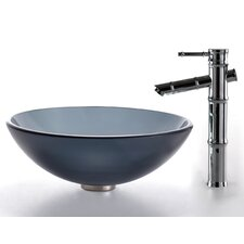 Bathroom Combos Glass Vessel Bathroom Sink with Bamboo Faucet
