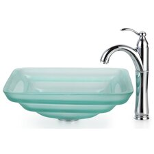 Square Frosted Oceania Glass Vessel Bathroom Sink with Rivera Faucet