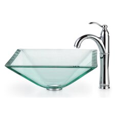 Square Aquamarine Glass Vessel Bathroom Sink with Rivera Faucet