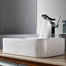 Bathroom Combos Rectangular Ceramic Bathroom Sink with Single Handle Single Hole Faucet