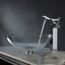 Crystal Clear Glass Vessel Sink and Unicus Faucet
