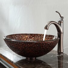 Venus Glass Vessel Sink and Riviera Faucet