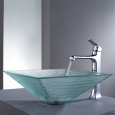 Decorum Alexandrite Glass Vessel Bathroom Sink and Faucet