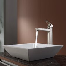 Virtus Square Ceramic Bathroom Sink with Faucet