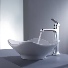 Decorum Tulip Ceramic Bathroom Sink and Faucet