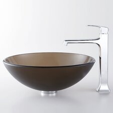 Decorum Frosted Vessel Bathroom Sink with Faucet