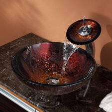 Saturn Vessel Bathroom Sink with Waterfall Faucet