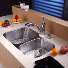 "32"" x 20.75"" x 9"" Undermnt 60 / 40 Double Bowl Kitchen Sink with Faucet and Soap Dispenserou"