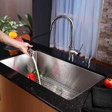 "30"" x 19"" Undermount Single Bowl Kitchen Sink with Faucet and Soap Dispenser"