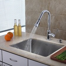 "23"" x 18"" Undermount Single Bowl Kitchen Sink with Faucet"