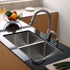 "32.75"" x 19"" Undermount Double Bowl 50/50 Kitchen Sink with Faucet and Soap Dispenser"