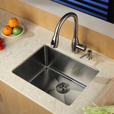 "23"" x 18"" Undermount Single Bowl Kitchen Sink with Faucet and Soap Dispenser"