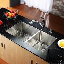 "32.75"" x 19"" x 10"" Undermount 50/50 Double Bowl Kitchen Sink with Faucet and Soap Dispenser"
