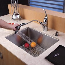 "21"" x 16"" x 10"" Undermount Single Bowl Kitchen Sink with Faucet and Soap Dispenser"