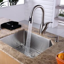 "21"" x 16.75"" Undermount Single Bowl Kitchen Sink with 14.4"" Faucet and Soap Dispenser"