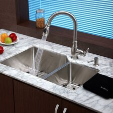 "Stainless Steel 32"" x 20"" Undermount 70/30 Double Bowl Kitchen Sink with Faucet and Soap Dispenser"