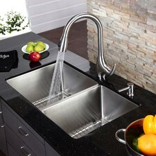"32.75"" x 19"" Undermount Single Bowl Kitchen Sink and Faucet with Soap Dispenser"