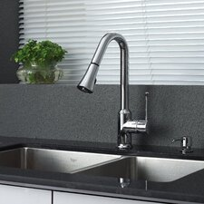 "32.75"" x 19"" Undermount Double Bowl Kitchen Sink with Faucet"