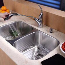 "32.25"" x 18.5"" Undermount 50/50 Double Bowl Kitchen Sink with Faucet and Soap Dispenser"