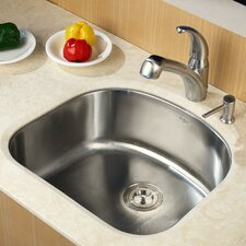 "23.25"" x 20.9"" x 9"" Undermount Single Bowl Kitchen Sink with Faucet and Soap Dispenser"
