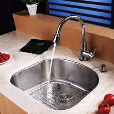 "21.25"" x 18.9"" Undermount Single Bowl Kitchen Sink with Faucet and Soap DispenserUndermount Single Bowl Kitchen Sink with Faucet and Soap Dispenser"