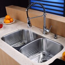"32.25"" x 18.5"" Undermount Kitchen Sink with Faucet and Soap Dispenser"