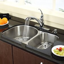 "Stainless Steel 30"" x 19.5"" Undermount Double Bowl Kitchen Sink with 11"" Kitchen Faucet and Soap Dispenser"