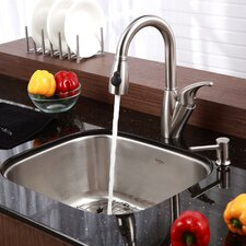 "Stainless Steel 20"" x 17.75"" Undermount Single Bowl Kitchen Sink with 14.5"" Kitchen Faucet and Soap Dispenser"