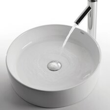 Ceramic Round Bathroom Sink with Sheven Single Lever Faucet