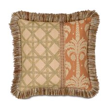 Kiawah Calappa Hand Painted Brush Fringe Decorative Pillow