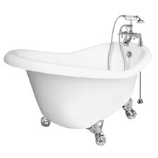 "Marilyn 67"" x 32"" AcraStone Right Champagne Massage Slipper Tub"