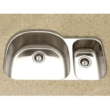 "Medallion Designer 35.25"" x 17.88 - 20.88"" Undermount Large Double Bowl Kitchen Sink"