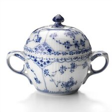 Blue Fluted Half Lace 6.75 oz. Sugar Bowl with Lid