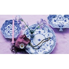 Blue Fluted Full Lace Dinnerware Set