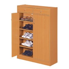 Brick Modern 5 Shelf Shoe Cabinet with 2 Drawers