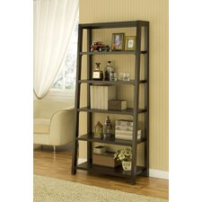 Heida Five-Shelves Ladder Style Bookcase / Display Cabinet in Warm Coffee Bean