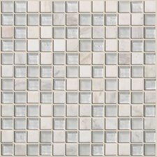 "Mixed Up 12"" x 12"" Mosaic Stone Accent Tile in Snow Peak"