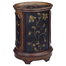 Delia Floral 3 Drawer Chest in Black