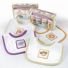 ''Animal Crackers for Messy Snackers'' 4-Piece Bib Set