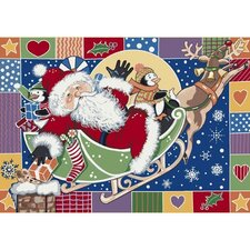 Winter Seasonal Patchwork Santa Novelty Rug