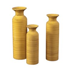 Striped Accents Glazed Ceramic Vase in Canary Yellow (Set of 3)